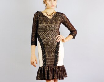 Women's Anne Black Lace and Tan Mini Dress