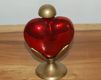 Beautiful Unusual Vintage Ruby Red Heart Glass Perfume Bottle on a Upwards Turning Leaves Brass Base