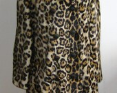 Vintage 60s Mod Plush Faux Leopard Fur Double Breasted Coat Jacket size M