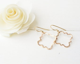 14k Gold Filled Quarterfoil Earrings - Moroccan Shape