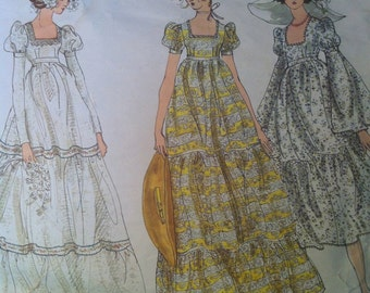 Vogue 2460 Vintage 1970's Empire Waist Wedding Gown Pattern - 1970's Vogue Bridesmaid Dress Pattern -Three Tiered Dress Puff Sleeves Size 8