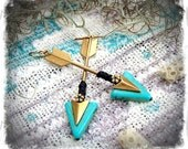 Tribal ARROW Earrings Raw Brass Earrings Long earrings Aim True native American Indian earrings Boho Turquoise Triangle earrings GPyoga