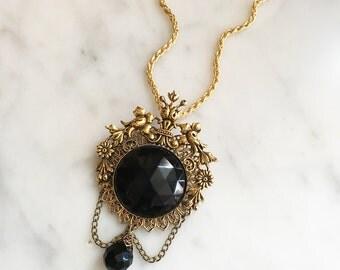 Vintage 60s Black Rhinestone Filigree Pendant Necklace Vintage Jewelry