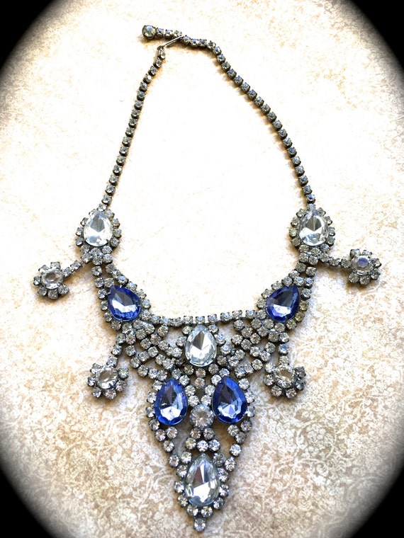 Sapphire Rhinestone Bib Necklace, Art Deco Bib Style