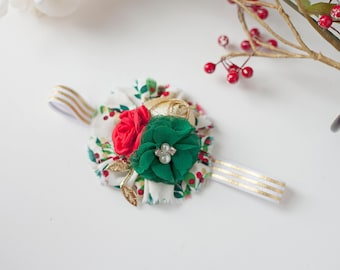 Snow Limits - gold red green metallic ruffle rosette and chiffon flower headband bow christmas holly