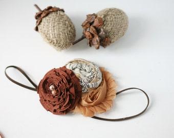 Brownest- tan khaki linen brown fall rosette burlap flower headband bow