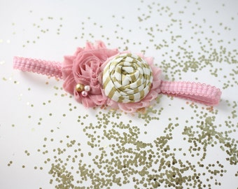 Greater Gold blush vintage pink gold and  white rosette and chiffon headband bow