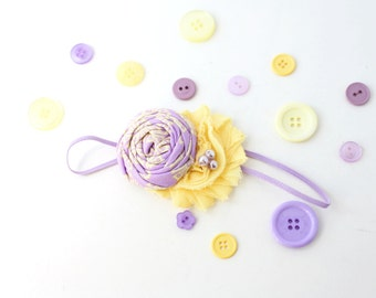 Peeps- lavender and yellow ruffle rosette and chiffon headband bow