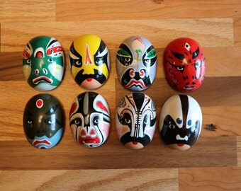 Chinese Opera Mask Magnet Set with 8 Painted Wooden Masks