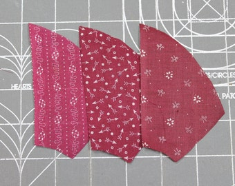 Antique 1900 CLARET RED FABRIC - Tiny Calico- unused Quilt Pieces - Fan/Pinwheel - 43 Pieces