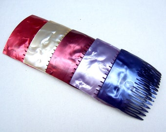 Vintage hair combs 2 pearlised effect celluloid mid century hair combs choice of white pearl, mauve, deep rose, deep amber, blue