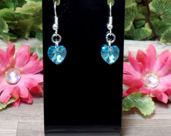 Blue Swarovski Heart Earrings - Aquamarine AB - Valentine Earrings