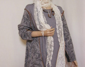 Plus Sizes up to 3X  Grey Tunic with Lace Scarf