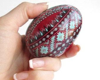Gifr for Mom Christmas Ornament Burgundy and turquoise Goose egg Pysanka one of a kind hand painted egg shell Ukrainian Easter egg Pysanka