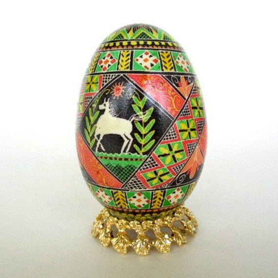 ornament with Horses Goose Pysanka batik Ukrainian Easter egg hand painted with horses and embroidered runners fine kistka details
