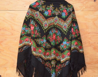 Vintage 70's Shawl Black Floral Russian Style Dramatic Gypsy Flare Fringe Detail Size Large