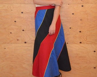 Vintage 60's A-line Maxi Swirl Skirt In Red, Black & Blue Size Small