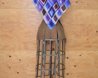 Vintage Scarf Or Shawl In Rich Blues Abstract Square Print On Silk
