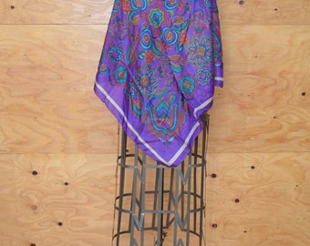 Vintage Silk Scarf Or Shawl In Purple & Teal Floral Print Large Size