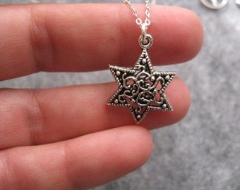 Silver Star Necklace, Charm Necklace, Beautiful Star Pendant on Sterling Silver Necklace, Silver Jewelry