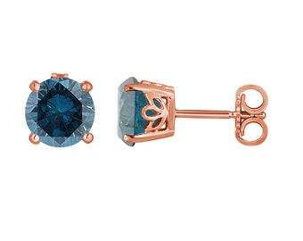 Fancy Blue Diamond Stud Earrings 1.92 Carat 14K Rose Gold Gallery Design Handmade Certified