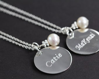 Personalized Bridesmaid Necklace Set of 5 Custom Engraved Pendants Necklaces, Wedding Jewelry, 925 Sterling Silver