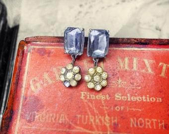 Rustic Assemblage Earrings - Vintage Rhinestone Charms - Shabby Make-do - Moon Blue Faux Gems - Post Earrings, Short Drops - Glam Ruins