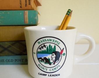 Vintage Souvenir Mug, Massawepie Scout Camp Leader, Adirondacks NY, Made in USA