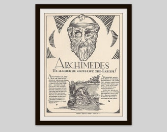 Archimedes, Vintage Art Print, Ancient Greek Mathematician, Physicist, Engineer, Inventor, Astronomer, Teacher Gift, Classroom Decor