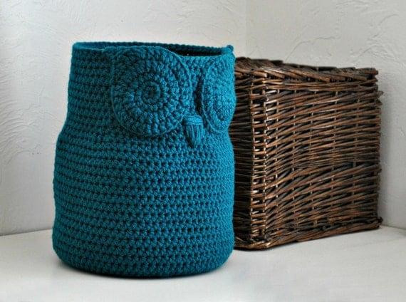 Large teal owl basket towel bin toy caddy by aandbdesignstudio for Teal bathroom bin