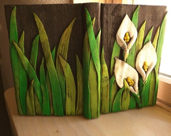 White Calla Lily Journal; Polymer Clay Journal; Custom Flower Art Journal; Floral Sketchbook; Style #: WHC02