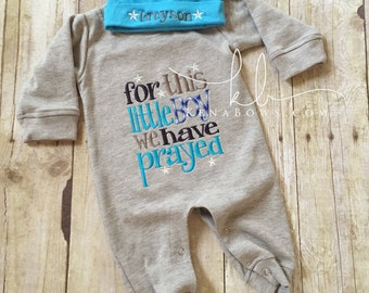 Newborn Baby Romper Outfit: Grey Blue Infant Boy Romper, For This Little Boy We Have Prayed, New Baby Shower Gift, Personalized Cotton Hat
