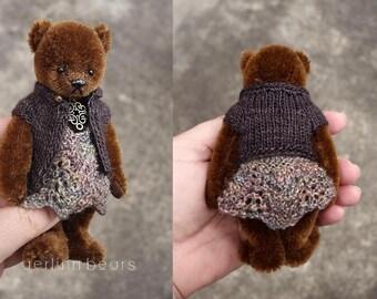 Taylor, Miniature Brown Mohair Artist Teddy Bear Girl from Aerlinn Bears