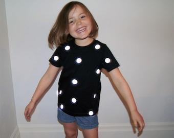 Kids Reflective Polka Dot T Shirt | Applique Fun Party Glow Top | Boys Girls Printed Basic Tee | Cool Hip Kids Clothes