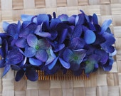 Beautiful hydrangea comb in purples and blues very realistic vintage rockabilly style wedding 40s 50s pin up fascinator hairflower bridal