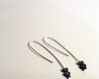 Double Heart Hematite Ear wires - Handmade