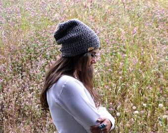 All Natural Wool Beanie Hat Slouchy Crochet Beanie Hat Gray California Wool - Limited Edition