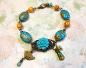 Mosaic Turquoise and Golden Agate Bracelet,Flower,Filigree and Bird Bracelet,