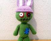 Zombie Bunny Hat, Crochet Mini Hat, Easter Hat, Stuffed Animal Accessory, Tiny Bunny Ears