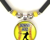 Softball Batter 3D Glass Pendant Necklace Personalized  With Your Name and Number, Softball Team Pendant, Softball Mom