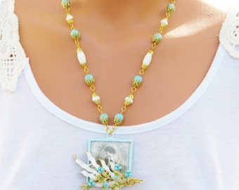 Turquoise and White Soldered Pendant Necklace, Vintage lady, Vintage Pin