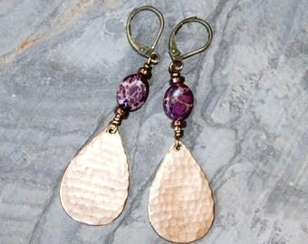 Hammered Bronze Earrings, Purple Earrings, Stone Earrings, Crazy Lace Agate Earrings, Dangly Earrings, Bohemian Earrings, Handmade Earrings