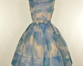 Vintage 1960s Party Dress...Darling Watercolor Print Chiffon Party Dress