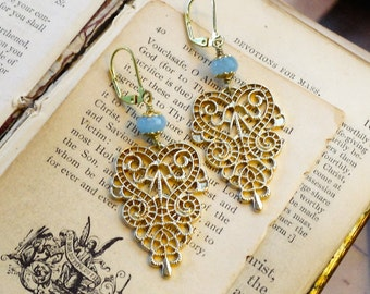 Golden Lace, Genuine Aquamarine Gemstone & Matte Gold Metal Filigree Lace Boho Earrings from Hollywood Hillbilly