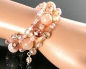 Pink Peach Bracelet Multi Strand Beaded Wrap Bracelet Agate Gemstone Bracelet Peach Pink Glass Boho Memory Wire Bracetel Bohemian Jewelry