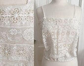 Vintage Camisole Top, White Cotton Lace, Boho, Adjustable Drawstring Bust