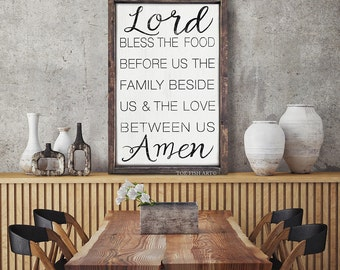 Bless the Food Before Us  Framed Rustic Large wood sign, Kitchen & dining room decor