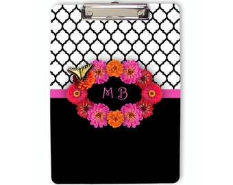 Monogram Clipboard, Personalized Clipboard, floral clipboard, flat clip clipboard, clip board, office accessory, office supplies