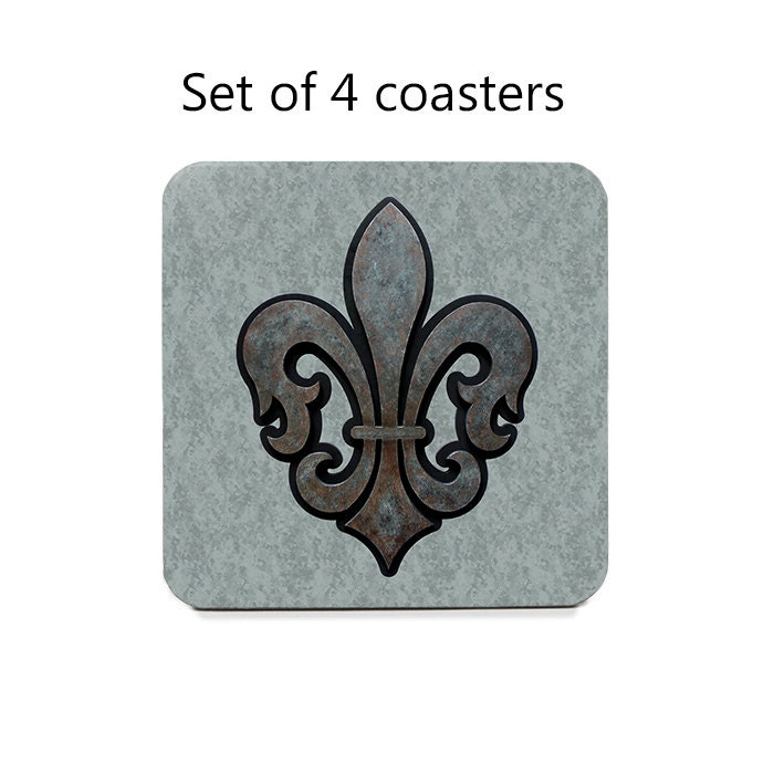 Fleur De Lis Coaster Set Drink Coasters Set Of By