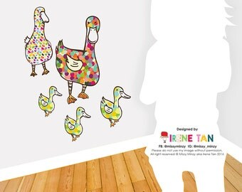 Removable Fabric Wall Decal. Hungry Ducks, Wall Decals, Wall Art, Gift Ideas, Nursery Room, Home Decor